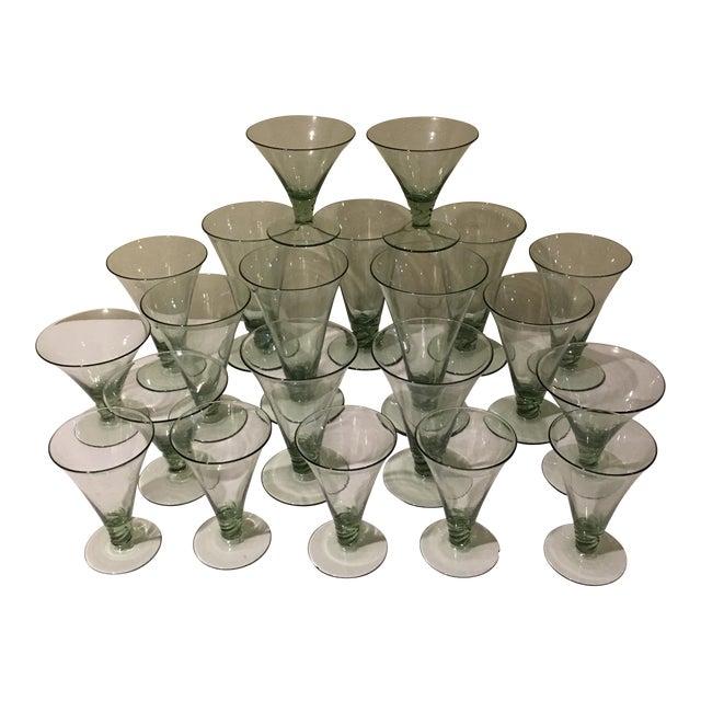 Vintage Green Holiday Glasses - Set of 21 For Sale