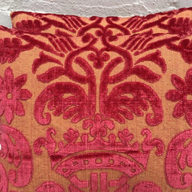 Antique Cut Velvet Textile Pillows - A Pair - Image 4 of 5