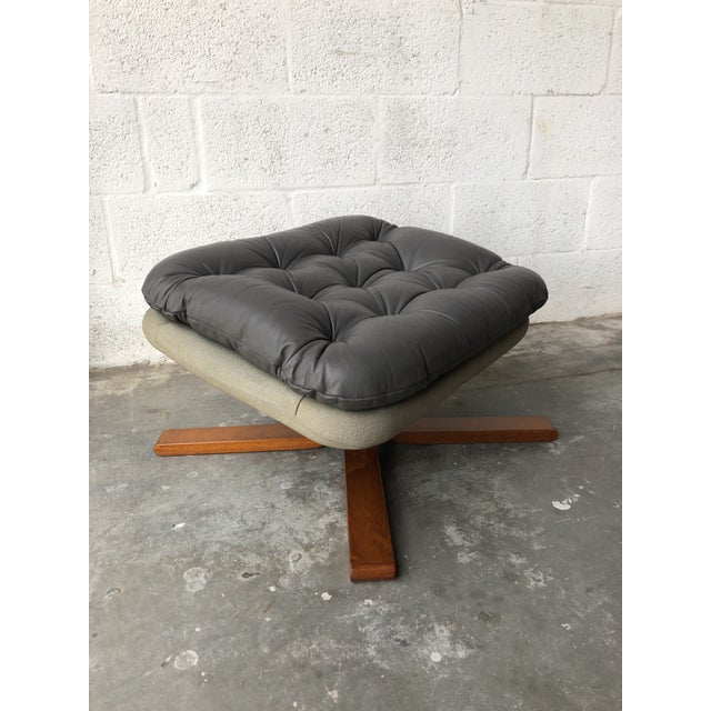Vintage Mid Century Modern Scandinavian Lounge Chair & Ottoman For Sale - Image 10 of 13