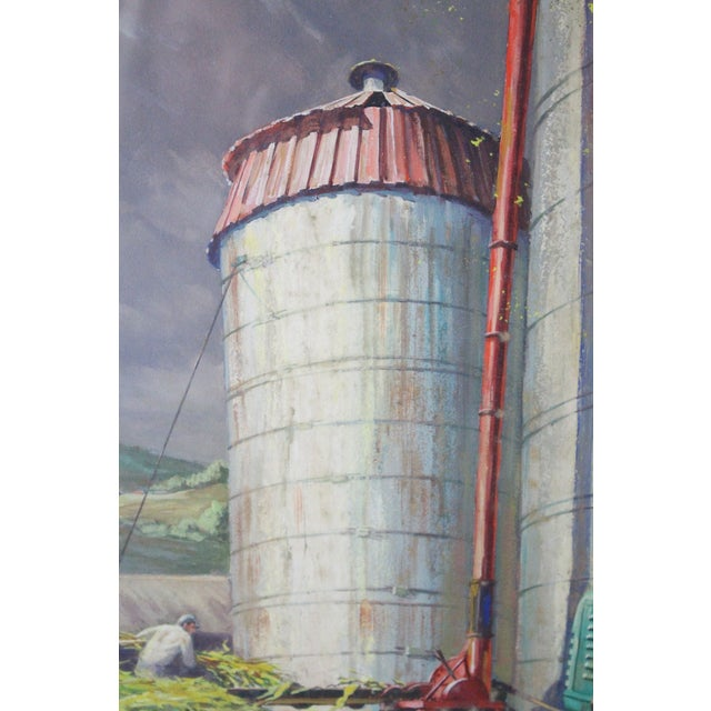 Caddell Farm Silo Gouche Scene Painting For Sale In New York - Image 6 of 8