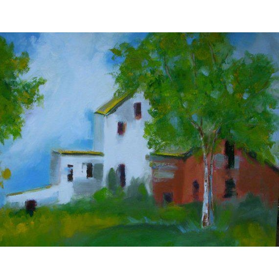 """2010s """"Country Farm"""" Oil Painting Comes Framed For Sale - Image 5 of 12"""