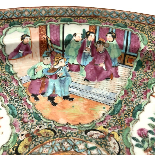 Paint Exceptional & Large Chinese Export Canto, Rose Medallion Platter, 18th C. For Sale - Image 7 of 11