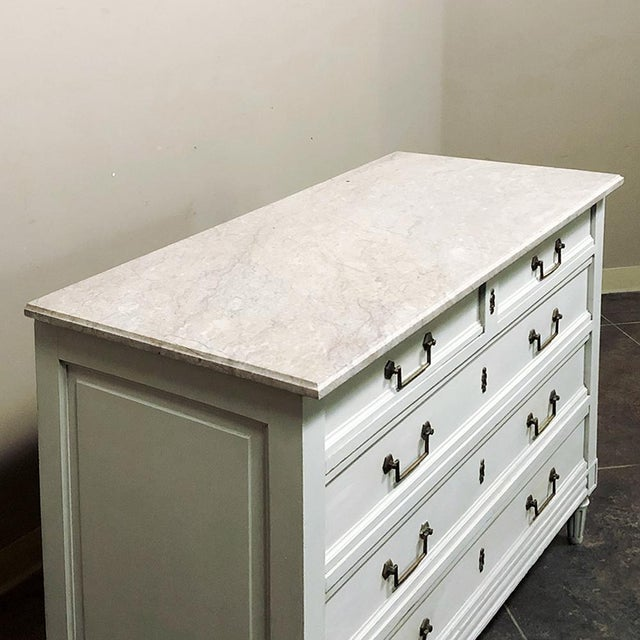 Antique Louis XVI Painted Marble Top Commode For Sale In Dallas - Image 6 of 13