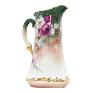 Early 20th Century T&v France Floral Vase Shape Flower Painted Porcelain Pitcher For Sale