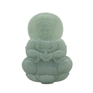 Light Green Sitting Jade Kwan Yin - Bodhisattva - Goddess of Mercy Jade Pendant For Sale