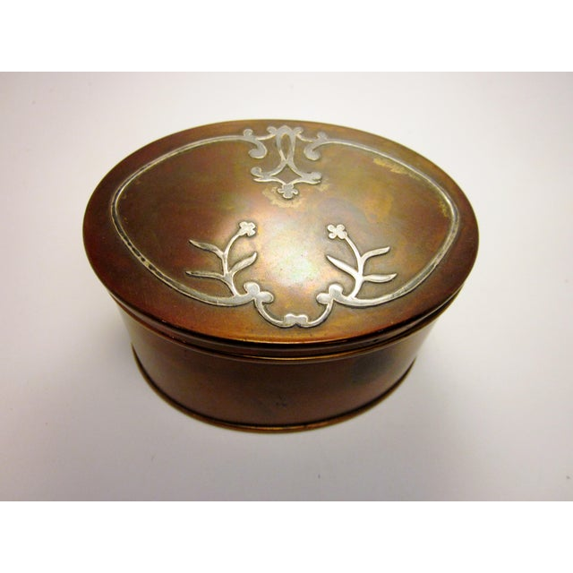 1910s 1910s Antique Arts and Crafts Era Heintz Art Metal Sterling Decorated Bronze Art Nouveau Floral Motif Desk Set - Set of 7 For Sale - Image 5 of 11