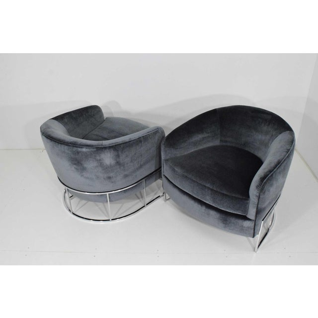 1970s Milo Baughman Gray Velvet Club Chairs - a Pair For Sale - Image 5 of 8