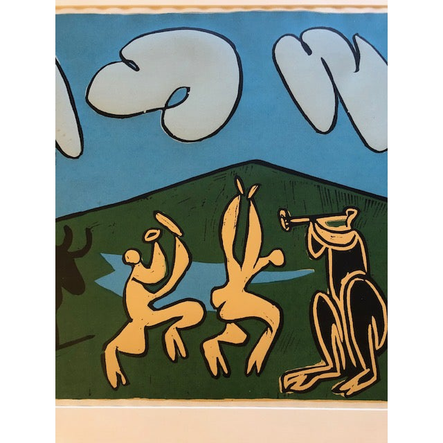 Expressionism 1960's Original Picasso Linocut Dancing Musicians With Bull For Sale - Image 3 of 6
