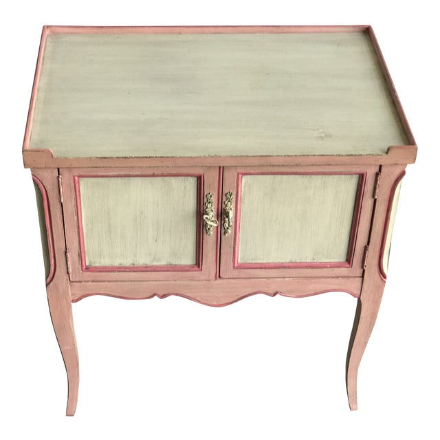 John Widdicomb Painted Pink Night Stand Side Table For Sale