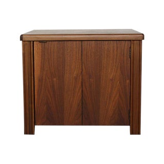 Modernist Walnut Cabinet Side Table