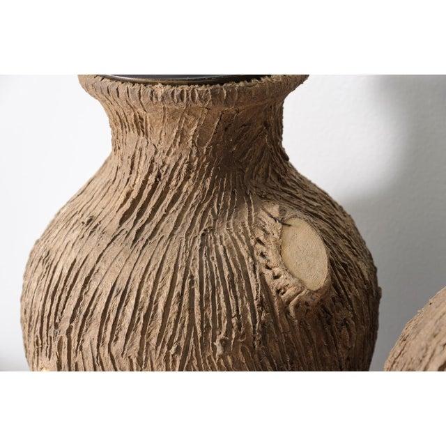 Ceramic Vintage Faux Bois Pottery Lamps - A Pair For Sale - Image 7 of 8