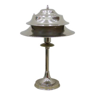Markel American Art Deco Silver Metal Table or Desk Lamp For Sale