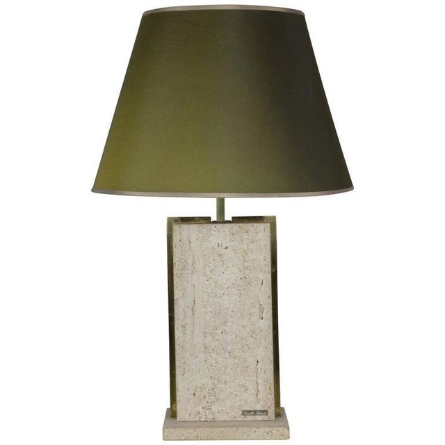 Brass Travertine and Brass Lamp Signed by Camille Breesch, 1970s For Sale - Image 8 of 9