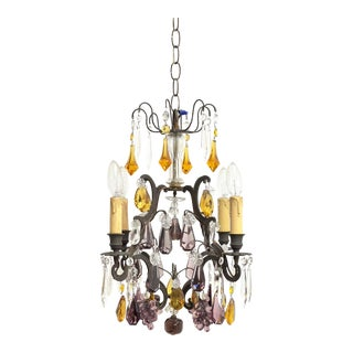 Antique Chandelier With Murano Glass Fruit For Sale