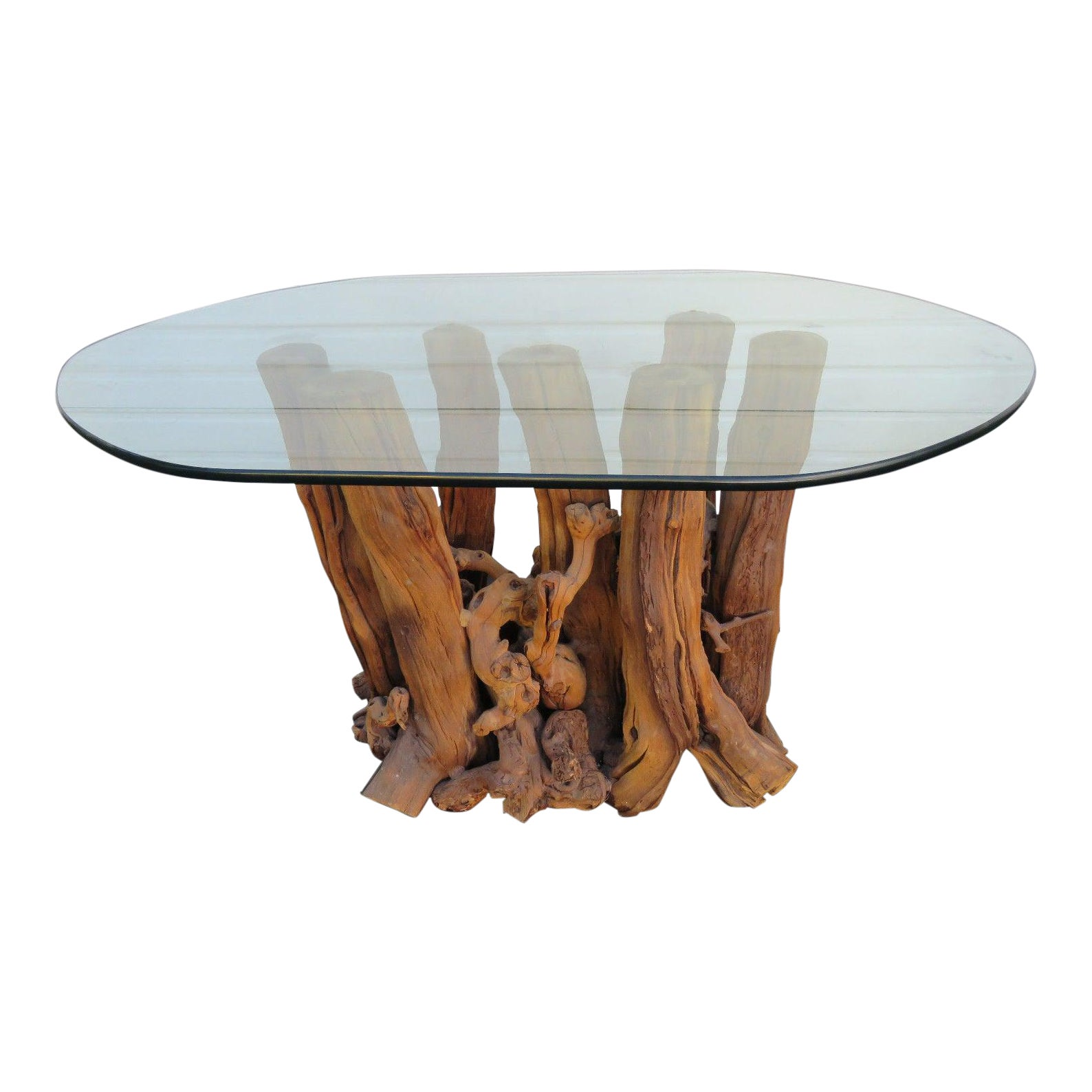 DAANIS: Glass Top Tree Trunk Dining Table