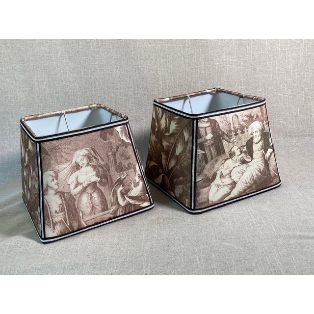 Textile Sepia Toile Lampshades - a Pair For Sale - Image 7 of 7
