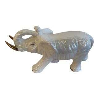 Vintage White Elephant Ceramic Statue For Sale