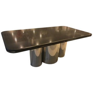 Black Granite and Chrome Dining Table For Sale