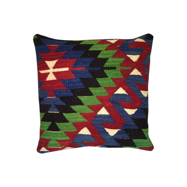 Blue, Red & Green Kilim Pillow Cover - Image 1 of 5