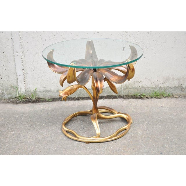 Vintage Arthur Court Mid-Century Hollywood Regency Gold Lily Side Table - Image 10 of 10