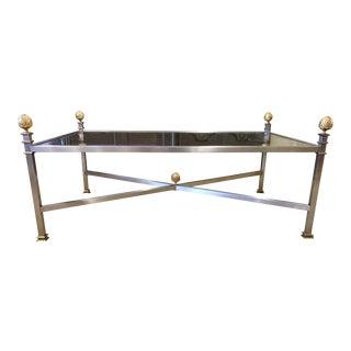Mid Century Modern Steel Brass Coffee Table For Sale