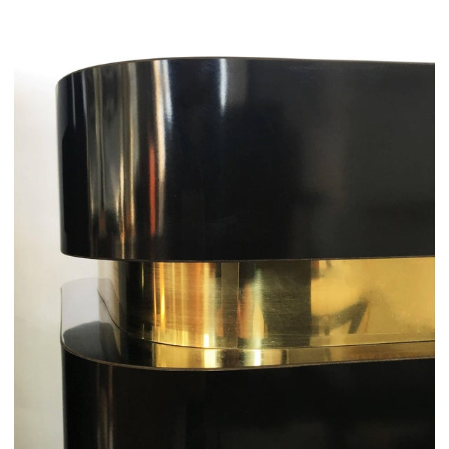 Late 20th Century Pair of Black Lacquer and Brass Pedestals For Sale - Image 5 of 8