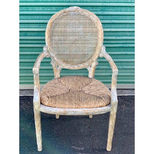 1960's Vintage Louis XVI Faux Bois Branch Form Cane Back Rush Seat Dining Chairs -Set of 6 For Sale - Image 11 of 13