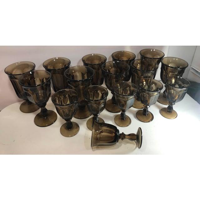 1970s 1970s Old Williamsburg Nut Brown Glass Goblet Drinkware Set of 16 For Sale - Image 5 of 5