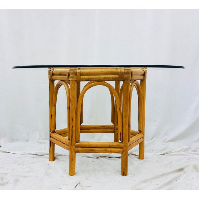 Mid 20th Century Vintage Bent Rattan & Glass Table For Sale - Image 5 of 12