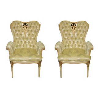 French Rococo Hollywood Regency Tufted Gold Arm Chairs - a Pair For Sale