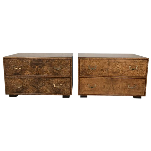 Widdicomb Burl Wood Campaign Style Chests - a Pair For Sale