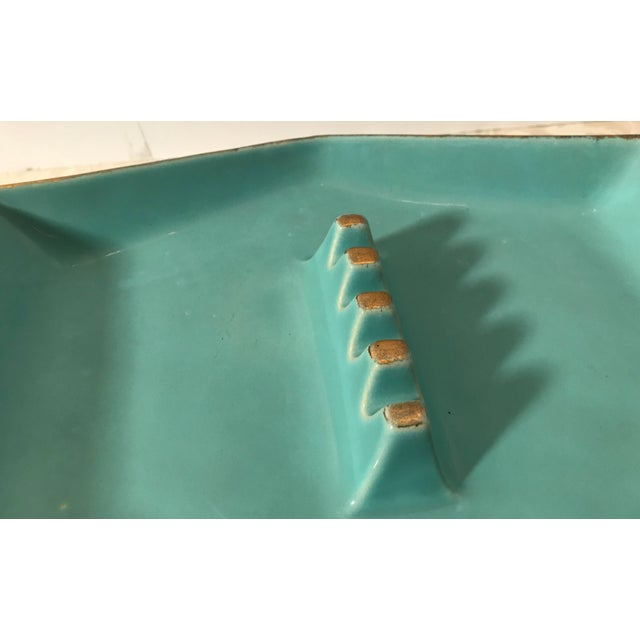 Turquoise Mid Century Modern Rossini Pegasus Ceramic Ashtray For Sale - Image 8 of 11