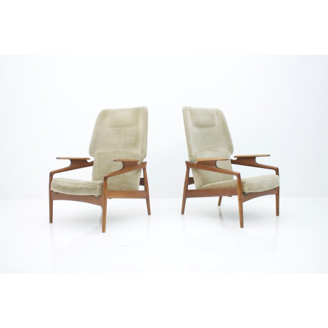 Pair of Reclining Teak Lounge Chairs by John Boné, Denmark 1960s For Sale - Image 11 of 11