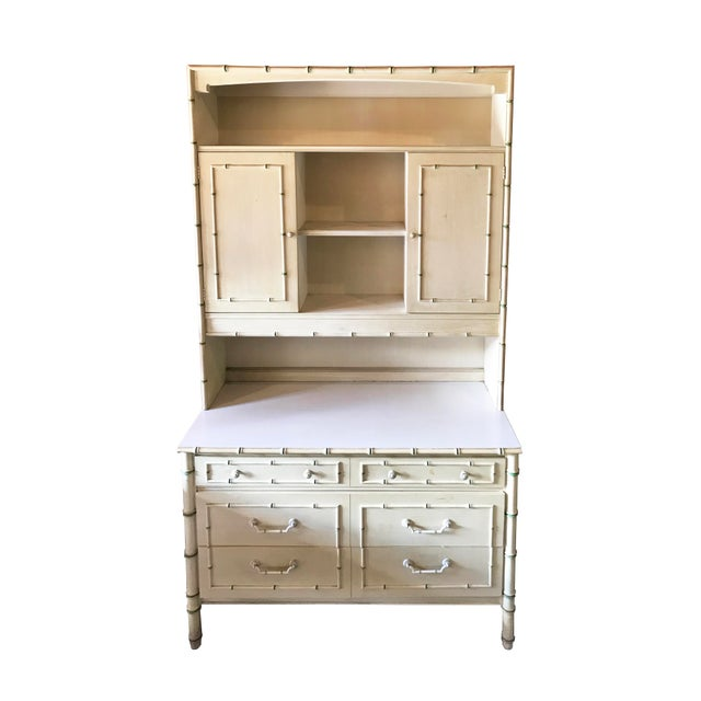White 1970's Vintage Faux Bamboo Cabinet, Hutch, Cupboard For Sale - Image 8 of 8