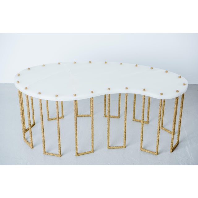 Hand Made Brass Shavings Coffee Table with Onyx Top, by Samuel Amoia For Sale - Image 9 of 9