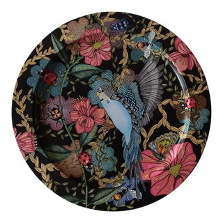 "Modern ""Budgie"" Floral Tin Tray For Sale"