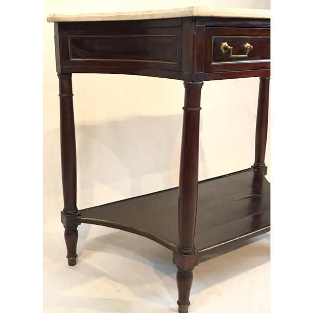 Mid 19th Century Mid 19th Century French Louis XVI Style Marble Top and Mahogany Console Table For Sale - Image 5 of 8