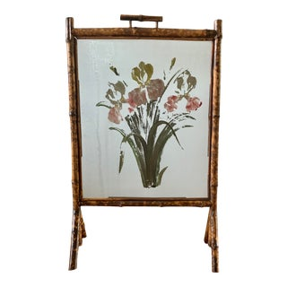 Antique Bamboo Hand-Painted Glass Fire Screen For Sale