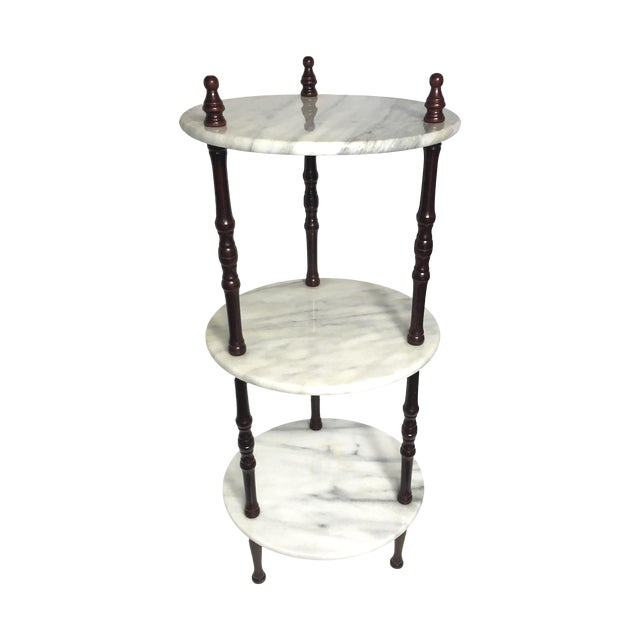 Mid-Century 3-Tier Marble Table Plant Stand - Image 1 of 4