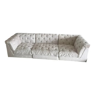 Jonathan Adler Ivory Tufted Velvet Sofa For Sale