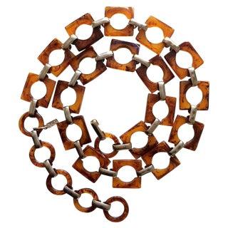 1970s Ysl Tortoise Link Necklace and Belt Vintage Yves Saint Laurent For Sale