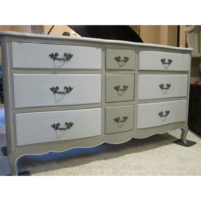 French Country Refinished Two Tone Gray Dresser - Image 11 of 11