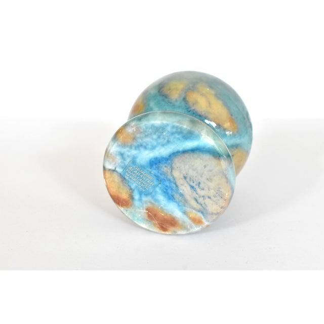 Vintage Italian Duccheschi Blue and Tan Alabaster Round Paper Weight For Sale - Image 10 of 12