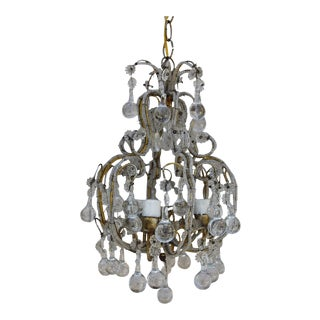 French Crystal Beaded Three-Light Chandelier