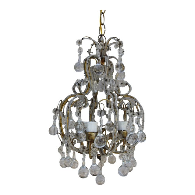 French Crystal Beaded Three-Light Chandelier For Sale