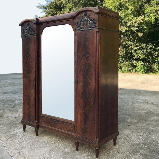 Empire Antique French Neoclassical Mahogany Armoire For Sale - Image 3 of 13