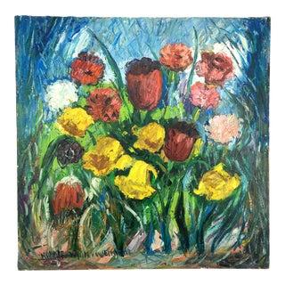 """1960's Impressionist Oil Painting """"Fleurs Dans Le Champ"""" by Nandor Vagh Weinmann For Sale"""