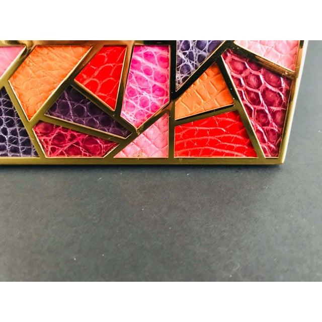 2010s Multi-Color Crocodile Skin Gold-Plated Photo Frame by Fabio Ltd For Sale - Image 5 of 8