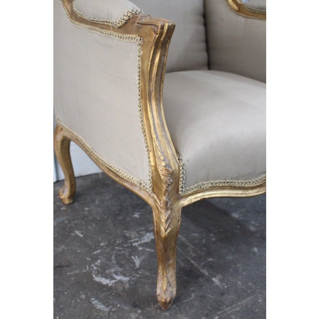 Louis Xv Style Wingback Bergères Chairs - a Pair For Sale - Image 9 of 11