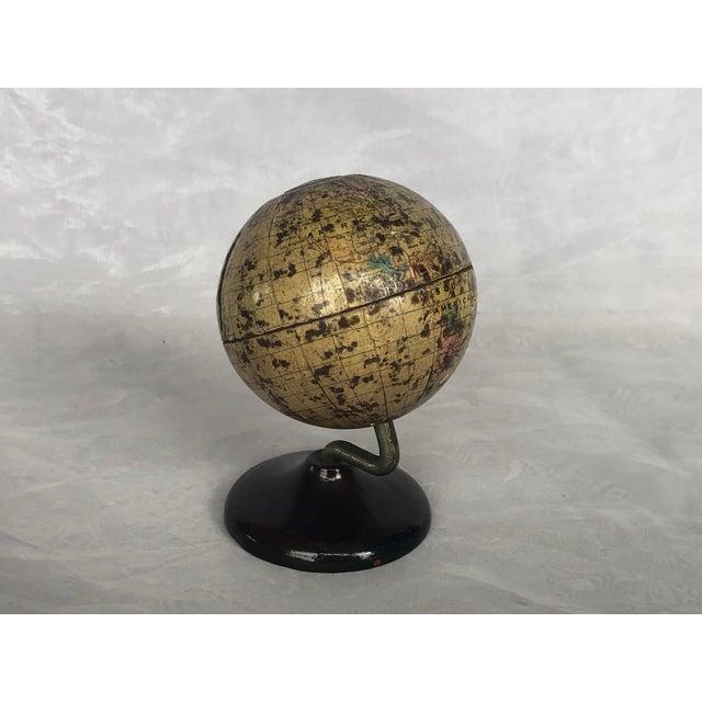 1930s Vintage World Desk Globe Die Cast Metal Bank For Sale - Image 5 of 13